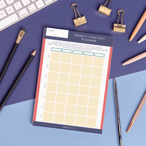 A4 weekly content desk planner